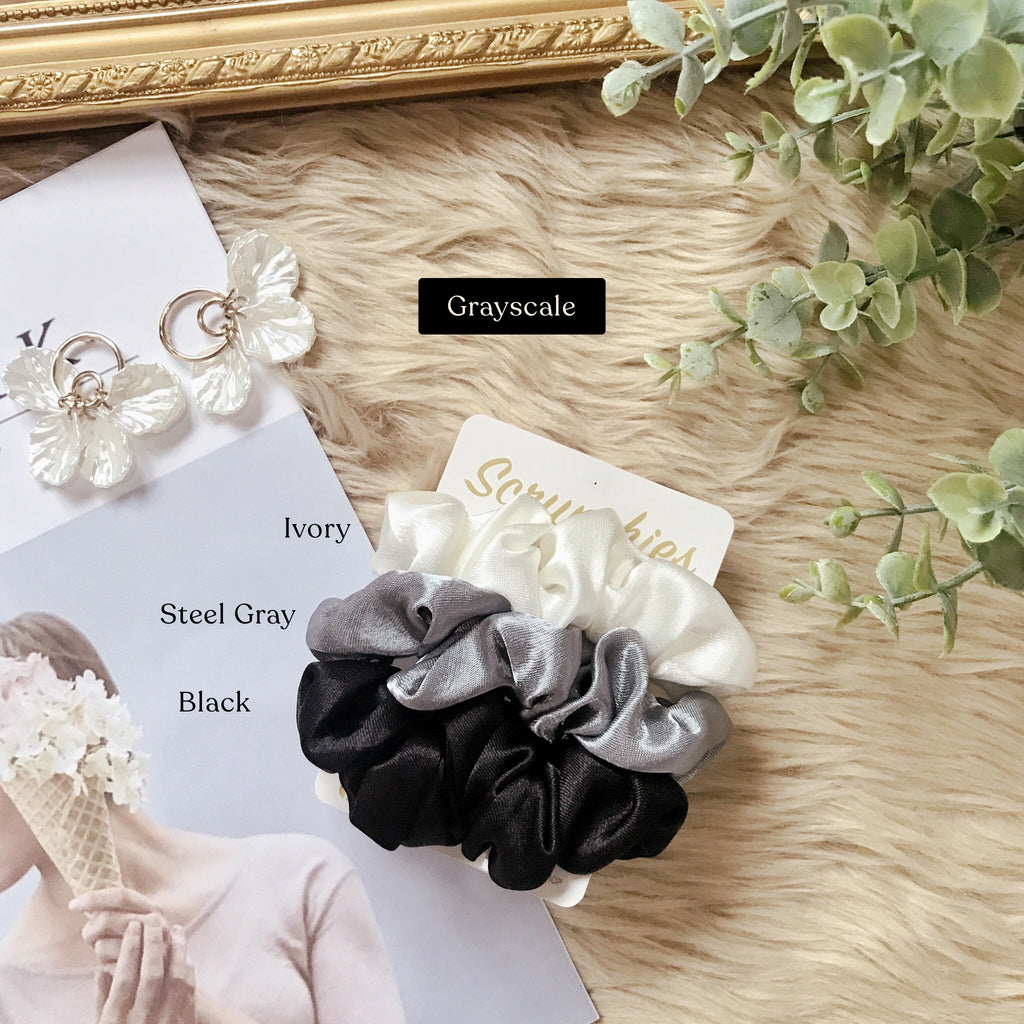 Grayscale Set <br> Satin Scrunchies (Regular Size)