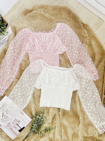SHASTA Daisies Mesh Long Puff Sleeves Top