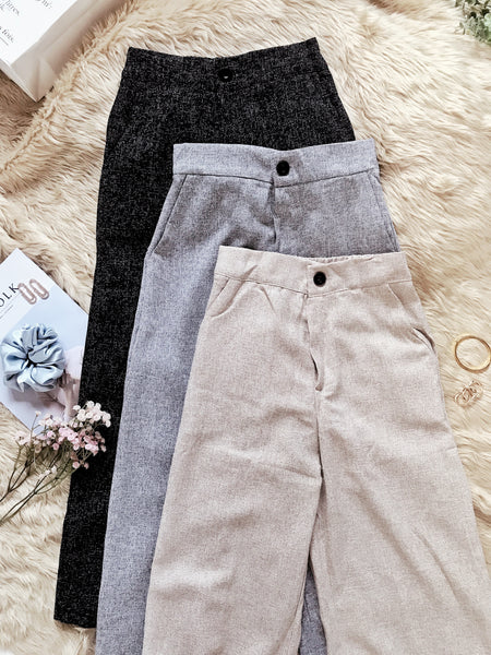 SHANE Woven Wide Leg Pants - Gray Speckled