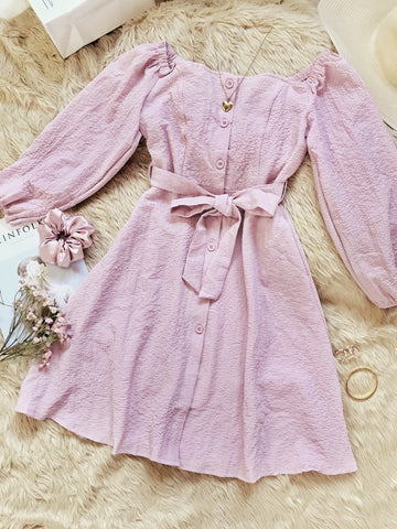 AUTUMN Long Puff Sleeves Button Dress - Blush