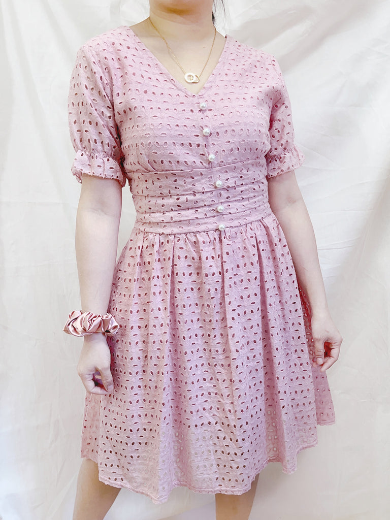 FELICITY Button Eyelet Puff Sleeves Dress - Blush Pink