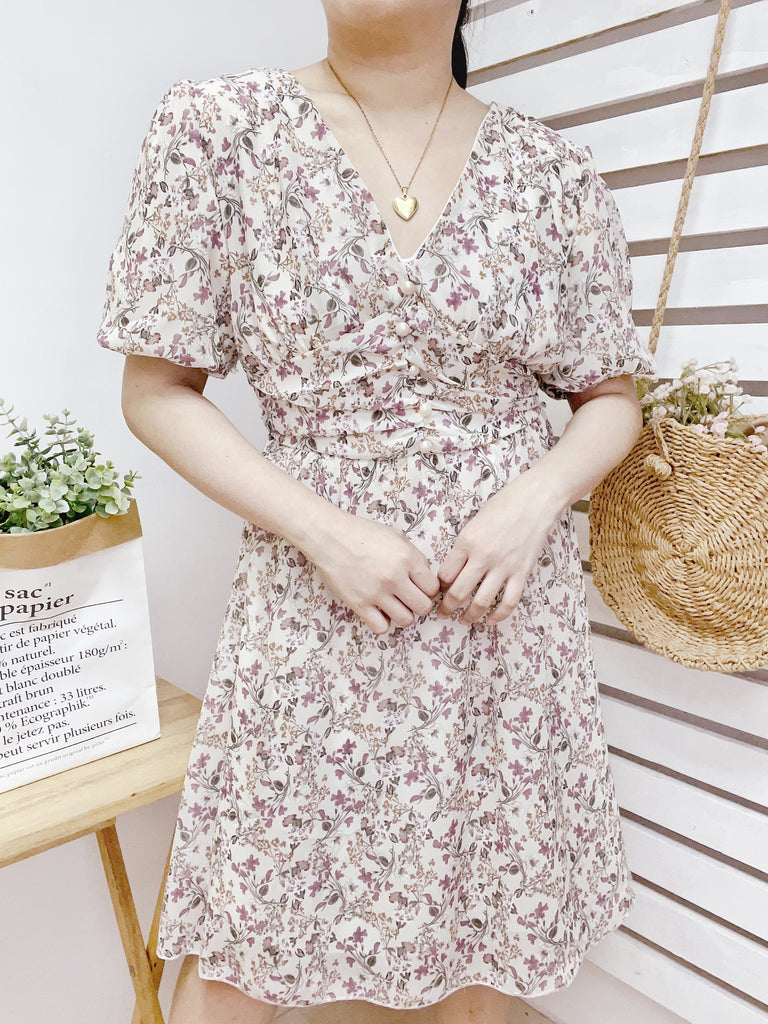 AERA Vintage Cinched Chiffon Puff Sleeve Dress - White Floral 1