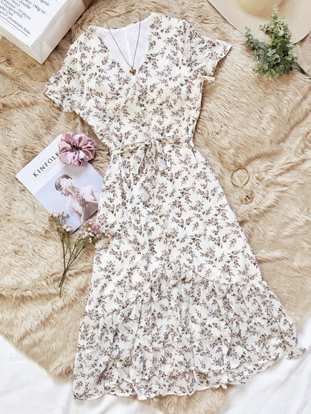 ATHENA Chiffon Vintage Maxi Dress - Cream Floral