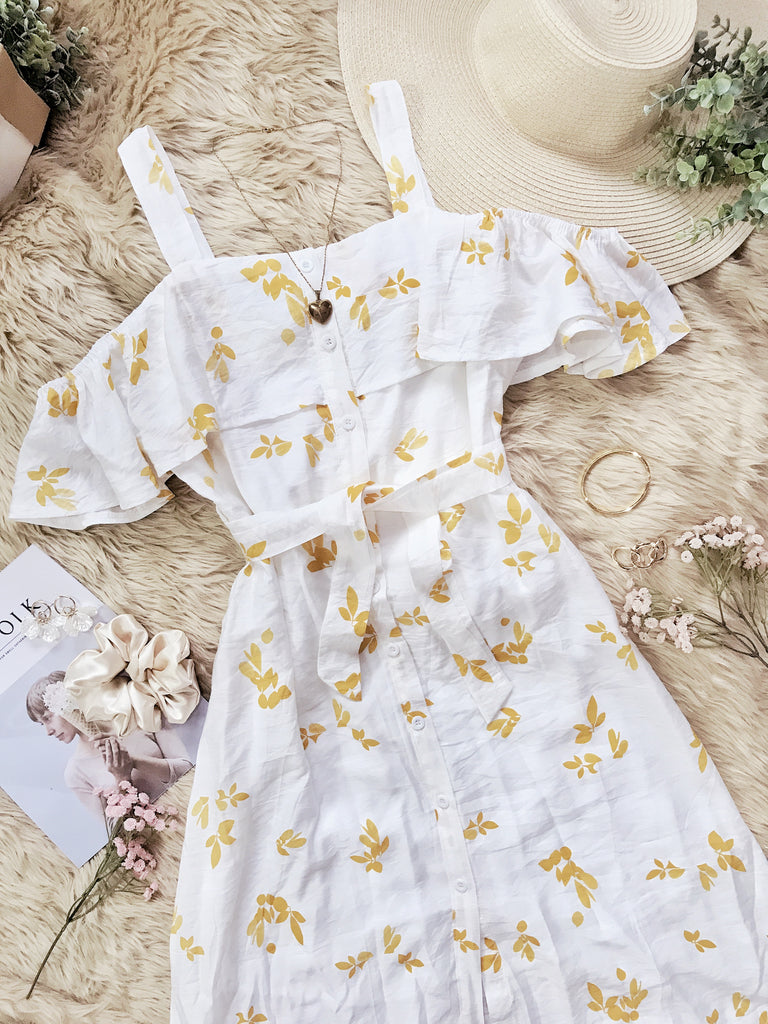 ADELAIDE Cold Shoulder Button Midi Dress - Yellow Floral