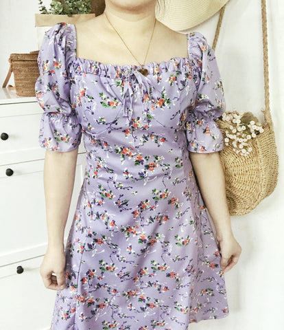 VERONICA Bustier Retro Puff Sleeves Dress - Lavender Floral