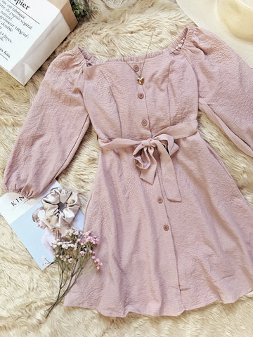 AUTUMN Long Puff Sleeves Button Dress - Mocha