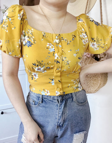 CALLA Puff Sleeves Button Crop Top - Mustard Floral