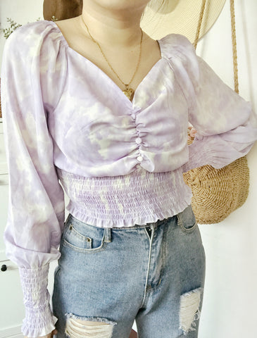 LUNA Tie Dye Long Sleeve Chiffon Cinched Top - Purple