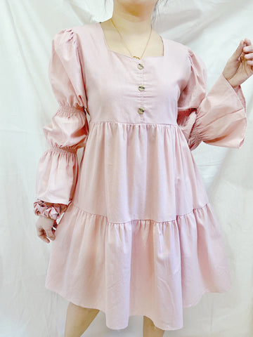 BROOKLYN Puff Sleeves Loose Layered Dress - Blush Pink