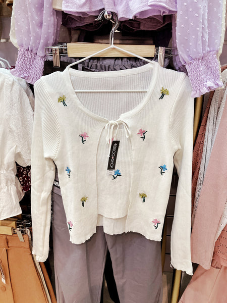 NORIKO Embroidered Faux Cardigan Top (attached inner)