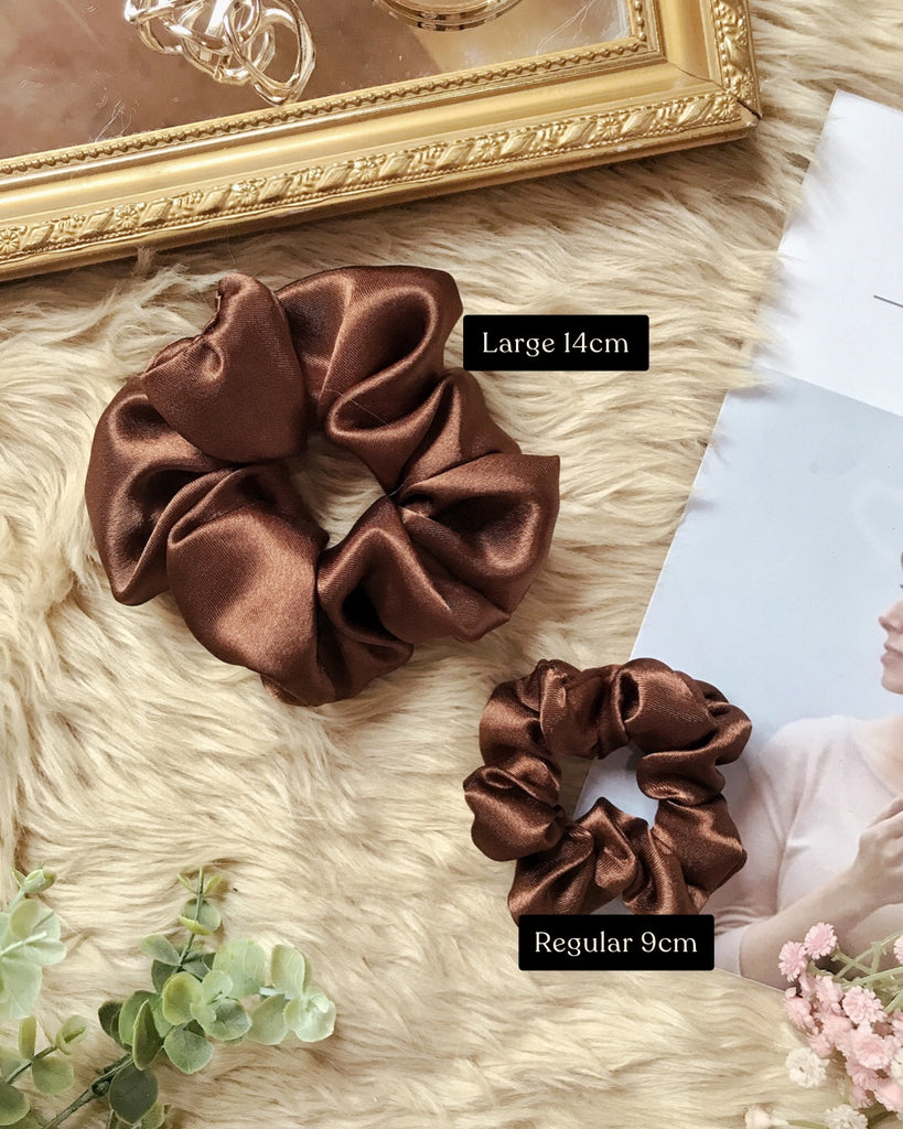 Satin Scrunchies - Hickory Brown