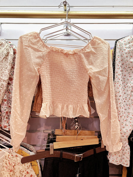 OPHELIA Chiffon Long Sleeve Smock Top