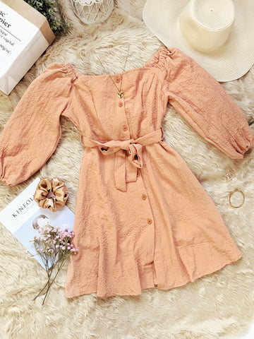 AUTUMN Long Puff Sleeves Button Dress - Coral