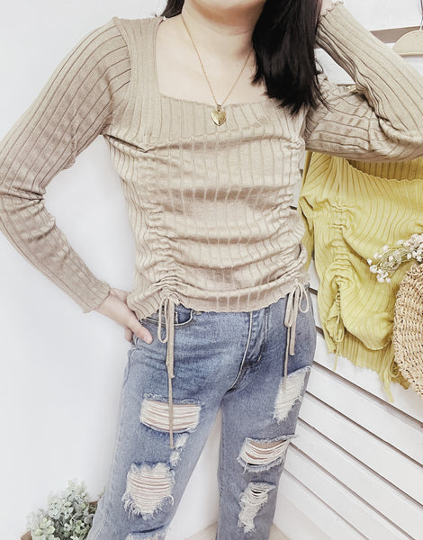 KIEL Ribbed Knit Double Cinched Long Sleeves Top