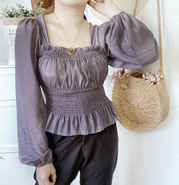 CASSANDRA Sheer Bustier Puff Sleeves Top (2 colors)