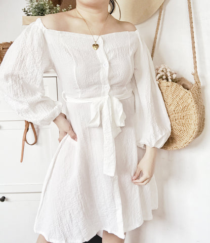 AUTUMN Long Puff Sleeves Button Dress - White