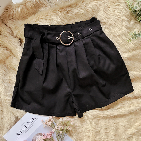 HANA High Waist Pleat Shorts with belt