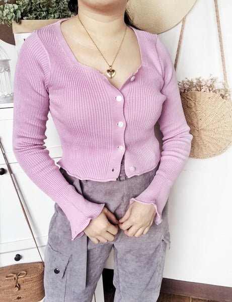 KIRSTEN Flare Sleeves Ribbed Knit Cardigan - Lilac