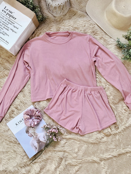TINSLEY Knit Crop Pullover & Shorts Coordinates - Blush Pink