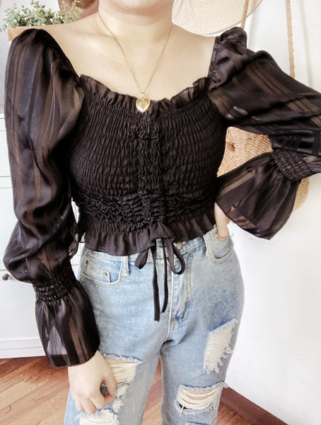 LUCILLE Striped Cinched Puff Sleeves Crop Top (2 colors)