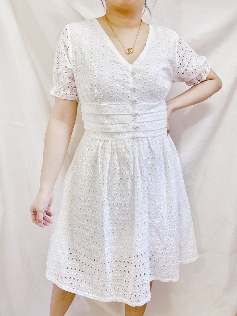 FELICITY Button Eyelet Puff Sleeves Dress - White