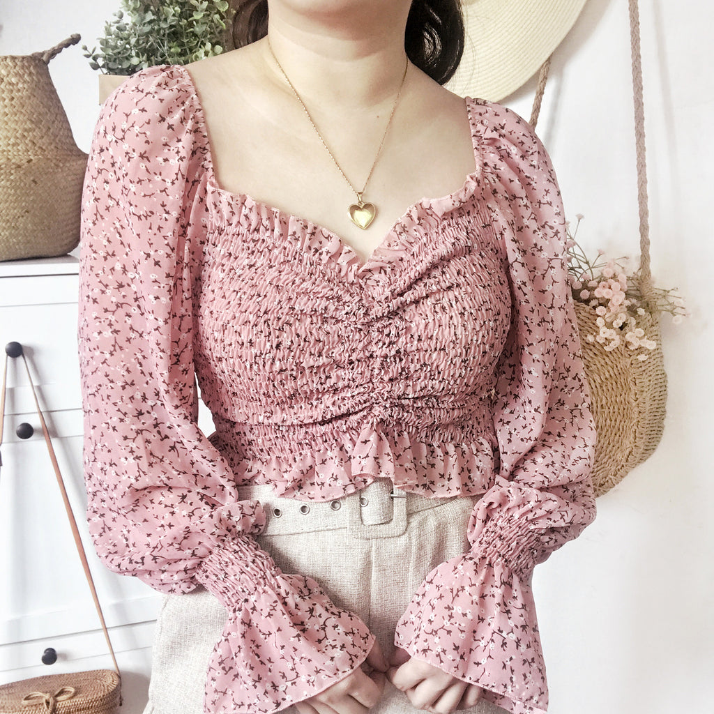 CAMILA Tie Up Smock Puff Long Sleeves Top - Pink