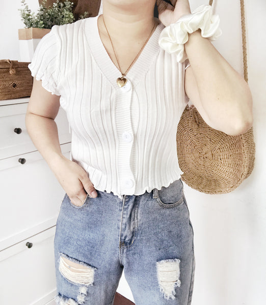 KACEY Ribbed Button Crop Top