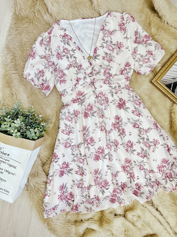 AERA Vintage Cinched Chiffon Puff Sleeve Dress - Pink Roses