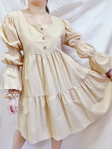 BROOKLYN Puff Sleeves Loose Layered Dress - Beige