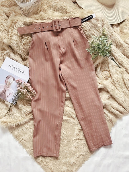 SUZY Stripes High Waist Corporate Trouser w/ Belt