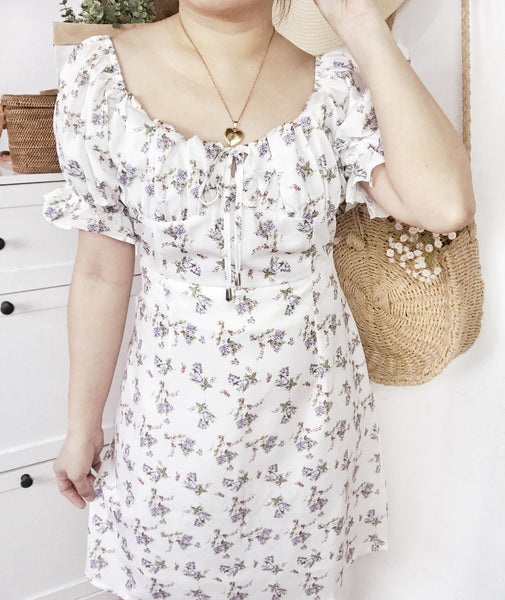 SELENE Bustier Puff Sleeves Dress - White Floral