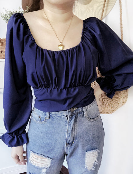 LARISA Puff Sleeve Tie Back Crop Top - Navy Blue