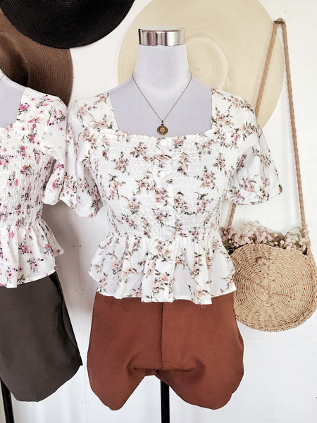 ELLIE Button Smock Puff Sleeve Top - White Floral 1