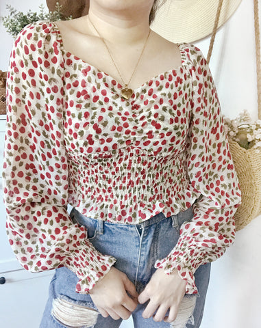 LILY Long Sleeve Chiffon Cinched Top