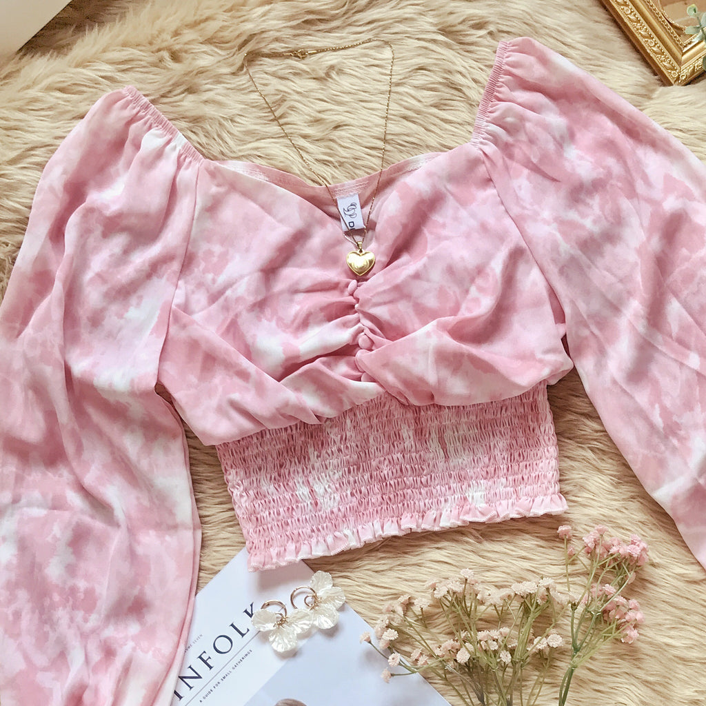 LUNA Tie Dye Long Sleeve Chiffon Cinched Top - Pink