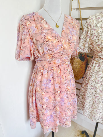 AERA Vintage Cinched Chiffon Puff Sleeve Dress - Pink Floral