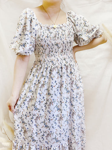 ALICIA Floral Smock Puff Sleeves Maxi Dress