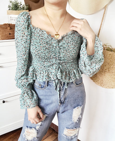 CAMILA Tie Up Smock Puff Long Sleeves Top - Teal