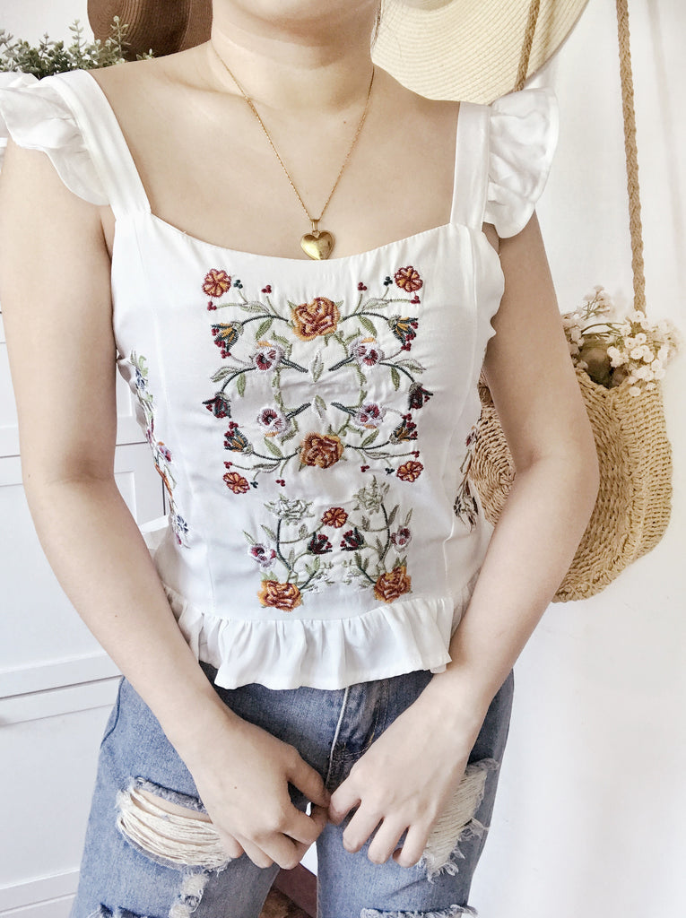 NAYA Embroidered Ruffle Sleeve Top - White