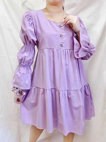 BROOKLYN Puff Sleeves Loose Layered Dress - Lilac