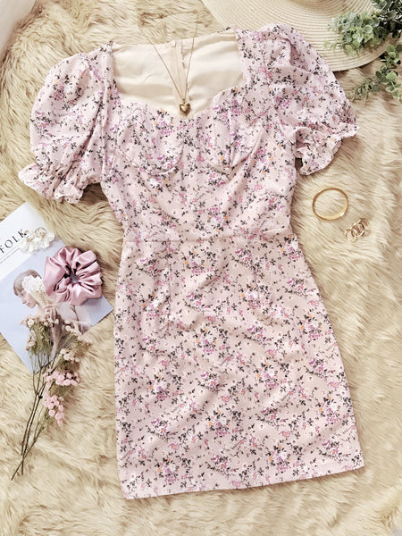 PENELOPE Puff Sleeve Bustier Dress - Blush Floral