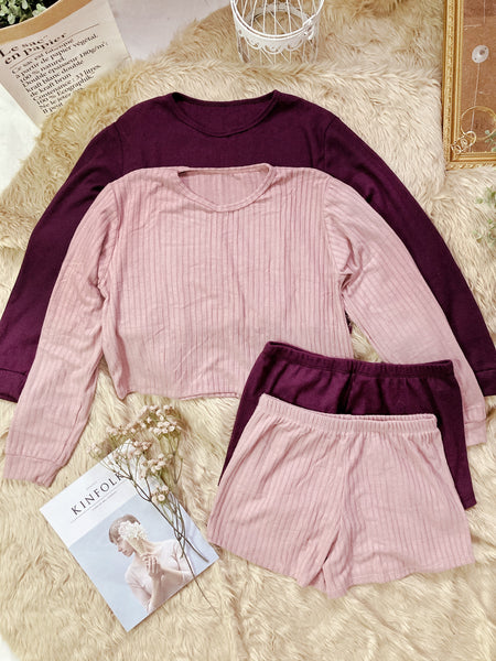 TINSLEY Knit Crop Pullover & Shorts Coordinates (4 colors)
