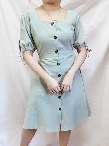 TRACY Button Linen Dress - Mint