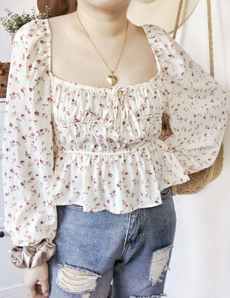 DAHLIA Long Puff Sleeves Top (Deep Cut Neckline) - Cream Floral