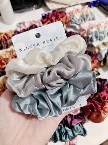 Winter Series • Limited Edition <br> Satin Scrunchies (Regular Size)