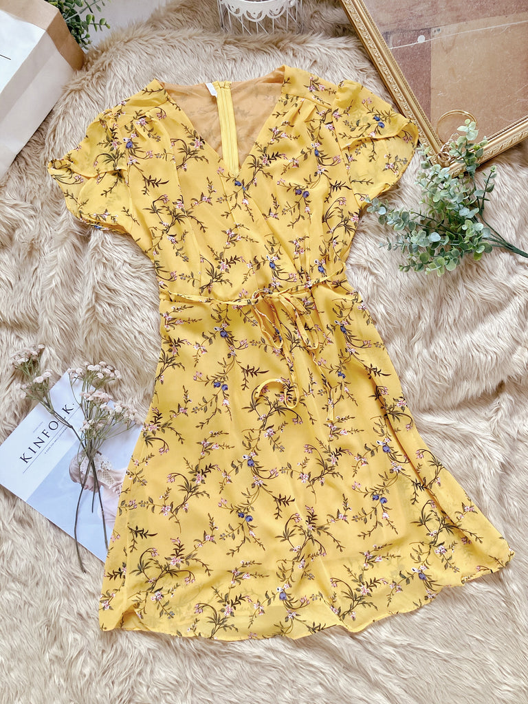 ARABELLA Surplice Chiffon Dress - Yellow Floral