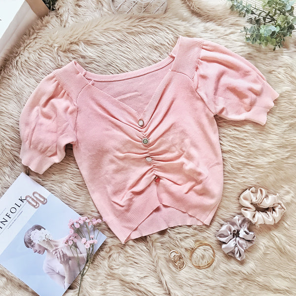 KIAN Unique Button Puff Sleeve Ruched Knit Top - Peach