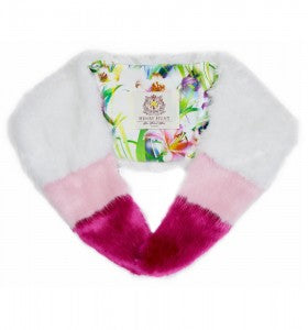 pink and white fur stole