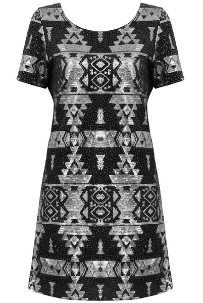Silver & Black Aztec Sequin Mini Dress