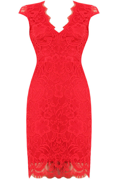 Red lace Open Back Dress - Size 8